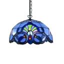 Tiffany Style Baroque 2 Light Hanging Pendant with Dome Glass Shade in Blue/Yellow, 16