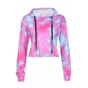 Fashion Printed Long Sleeve Cropped Hoodie