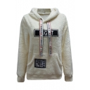 Letter Pattern Applique Long Sleeve Plush Casual Hoodie