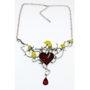 Floral Embellished Heart Pattern Crystal Chain Necklace