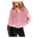 Faux Fur Lapel Collar Plain Long Sleeve Zip Up Cropped Jacket