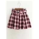 Tartan Printed Elastic Waist Loose Mini A-Line Skirt with Belt
