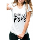 POP'S Letter Printed Round Neck Short Sleeve T-Shirt