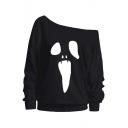 Graffiti Print One Shoulder Long Sleeve Loose Sweatshirt