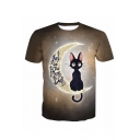 3D Letter Cat Moon Printed Round Neck Short Sleeve T-Shirt