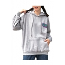Cartoon Moon Letter Printed Long Sleeve Leisure Hoodie