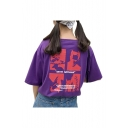 Abstract Character Letter Printed Round Neck Short Sleeve Casual T-Shirt