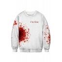 3D Letter Blood Printed Round Neck Long Sleeve Sweatshirt