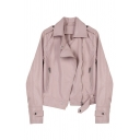 PU Lapel Collar Long Sleeve Plain Offset Zip Closure Leather Jacket