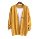 Lovely Cat Embroidered V Neck Button Front Long Sleeve Cardigan