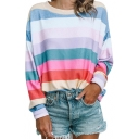 Color Block Round Neck Long Sleeve Sweatshirt