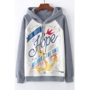 Anchor Letter Printed Color Block Raglan Long Sleeve Casual Hoodie