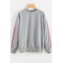 Tricolor Striped Patch Long Sleeve Crew Neck Sweatshirt
