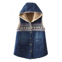Contrast Geometric Patchwork Denim Sleeveless Sherpa Hooded Vest