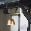 Satin Black/Copper/Silver Finish Dome Shade Pendant Light with Creative Belt for Cafe Bar Clothes Store, 2 Sizes