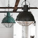 Vintage Style Green/Black Finish Single Hanging Light with Wire Caged Dome Shade and Rivet Design