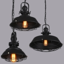 Retro Style Matte Black Finish Wire Caged Ceiling Pendant Lamp with Adjustable Chain for Buffet Cafe Bar, 3 Sizes