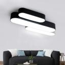 Minimalist Modern Style Ellipse LED Ceiling Flush Light 24/36W Acrylic Lampshade Oval Surface-Mount Led Lamp in Black Finish