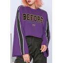 BEFORE Letter Embroidered Color Block Long Sleeve Round Neck Crop Sweatshirt