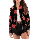 Fashion Floral Printed Stand Up Collar Long Sleeve Zip Closure Jacket