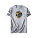 CCCP Letter Rocket Printed Round Neck Short Sleeve Graphic T-Shirt