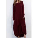 Loose Comfort Plain Round Neck Long Sleeve Maxi A-Line Dress