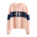 Color Block Number Letter Printed Long Sleeve Hoodie