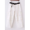 Contrast Stitching Wide Leg Chic Pants with Pockets