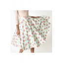 Vintage Floral Ice Cream Printed High Waist Midi Flare Skirt
