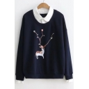 Contrast Lapel Collar Fake Two Pieces Pom Pom Embellished Deer Print Long Sleeve Sweatshirt