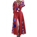 Folk Style Geometric Embroidered V Neck Long Sleeve Tassel Embellished Tie Waist Maxi A-Line Dress