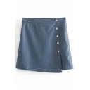 Button Front High Waist Asymmetric Hem Plain PU Mini Skirt