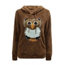 Cute Owl Applique Long Sleeve Plush Warm Hoodie