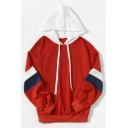 Loose Color Block Long Sleeve Casual Hoodie