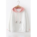 Color Block Rabbit Embroidered Carrot Pattern Drawstring Hood Long Sleeve Hoodie