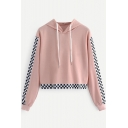 Contrast Monochrome Panel Long Sleeve Cropped Hoodie