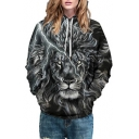 Lightning Lion Print Long Sleeve Unisex Hoodie