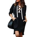 Sexy V Neck Lace Up Front Long Sleeve Plain Mini Sweatshirt Dress