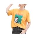 CIGARETTE Letter Cartoon Woman Print Round Neck Short Sleeve T-Shirt