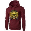 Halloween Series Skull Print Long Sleeve Slim Menswear Hoodie