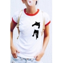 Cat Printed Contrast Trim Round Neck Short Sleeve T-Shirt