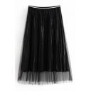 Serpentine Pattern Mesh Patched Elastic Waist Midi A-Line Skirt