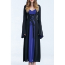 Halloween Cosplay Color Block Lace Up Detail Long Sleeve Maxi Hooded Dress