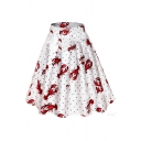Lobster Spot Printed High Waist Midi A-Line Skirt
