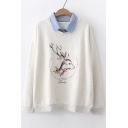 Contrast Lapel Collar Deer Letter Printed Long Sleeve Sweatshirt
