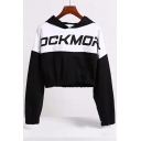 Elastic Waist Color Block Letter Printed Long Sleeve Cropped Hoodie