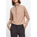 Knotted Collar Reversible Plain Long Sleeve Cropped Blouse