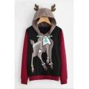 Color Block Deer Pattern Long Sleeve Antlers Embellished Hood Casual Hoodie