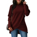 Plain Asymmetric Hem Overlay Long Sleeve Leisure Hoodie