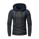 Slim Color Block Long Sleeve Leisure Hoodie for Men